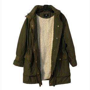 H&M Military Faux Shearling-Lined Parka